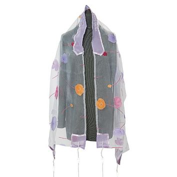 Pink and Purple Floral Tallit Prayer Shawl for Women