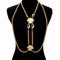 BIG MEDUSA HOOK DRAPE Statement ROPE BODY CHAIN Metal Link Chain
