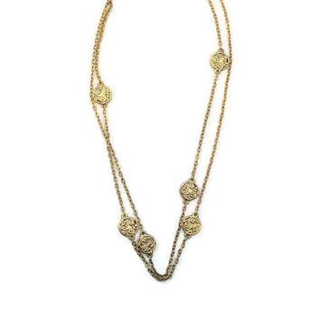 Celtic Triskelion Extra Long Chain Necklace In Gold Tone, Triskele Symbol