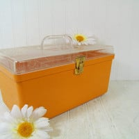Retro Clear & Autumn Gold Wilhold Wilson Sewing Box - Vintage Plastic Carry All - Crafters Supply Tote Artisans Tool Chest Makeup Carry Case