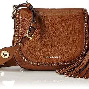 Michael Kors Women's Medium Brooklyn Leather Saddle Bag Leather Cross-Body Satchel