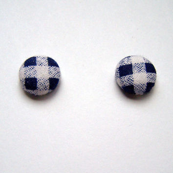 Fabric Button Earrings Blue and White Checkered by twochickies