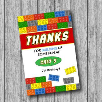 Personalized Printable Lego Thanks Tags, Birthday Tag, Lego Theme (PRINTABLE file, Download, Custom Order)
