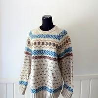 Vintage Woolrich Patterned Wool Sweater 1970s