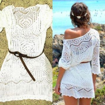 LMFOK8 Sexy Women Lace Crochet Dress Summer Beach Dress See Through MIni Dress One Size