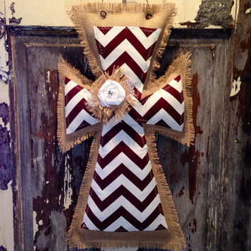 Medium Maroon Chevron Burlap Cross