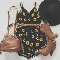 Bohemian V-neck Sunflower Print Jumpersuit Dress