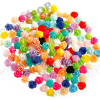Teeny Tiny Mixed Color Rose Cabochons, Rose Shaped Flatback Cabochons, 7.5mm x  6mm (R3-038)