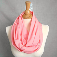Baby Pink Coral Infinity Scarf Fashion Scarf Womens Accessories Spring Scarf