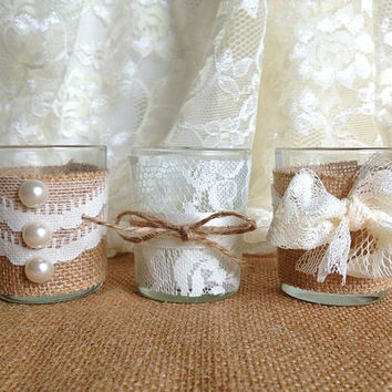 Burlap and lace covered 3 piece 10 hour votive tea candles for Burlap and lace bedroom