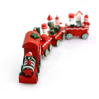 2015 Hot 2015 4 Pieces Wood Christmas Xmas Train Decoration Decor Gift Indoor Christmas Decoration Rosonse