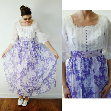 VINTAGE 1970s Prairie MILK MAID Maxi Dress Silk Organza Purple Floral