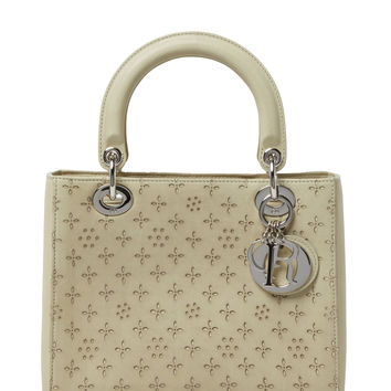Christian Dior Women's Ivory Perforated Leather Lady Dior Medium