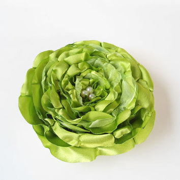 Big Flower Hair Pieces Bridal Hair Accessories Bridesmaids Lime Green Wedding Rose Hair Clips Brides Olive Green Fabric Flower, Women, Gift