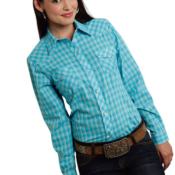 Roper Ladies 9745 Small Turquoise Plaid Poly Cotton 55/45 Plaids Long Sleeve Shirt Snap Closure - 2 Pocket