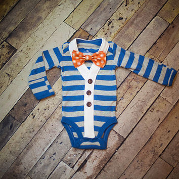 Preppy Baby Boy Cardigan Onesuit and Bow Tie set