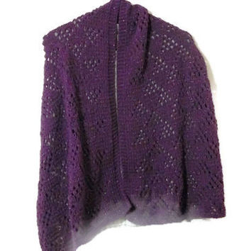 Hand Knit Plum Shimmer Shawl