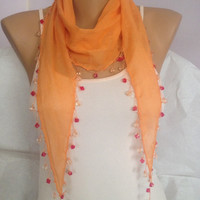 Bright Orange Scarf - Beaded Orange Lace Scarf - Scarf With Colorful Edges