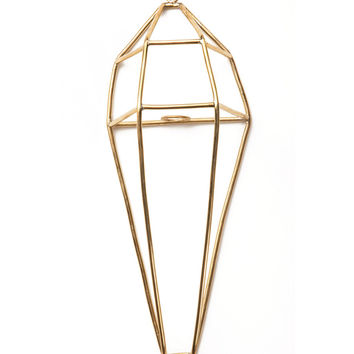 Geometric Brass Wall Planter