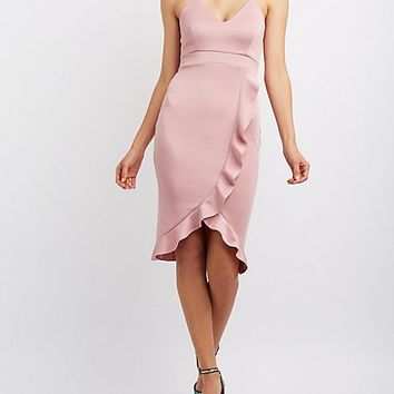 Ruffle-Trim Strappy Bodycon Dress