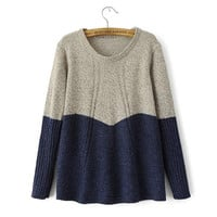 Korean Long Sleeve Pullover Knit Tops Sweater [8422527105]