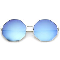 Women's Oversize Mirrored Octagon Flat Lens Sunglasses A655
