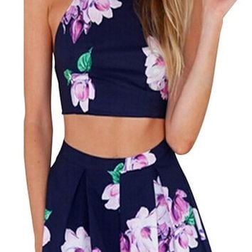 Creabygirls Women's Cute 2 Piece Outfit Floral Dresses Set Crop Top + High Waist Pant (Small=US(2))