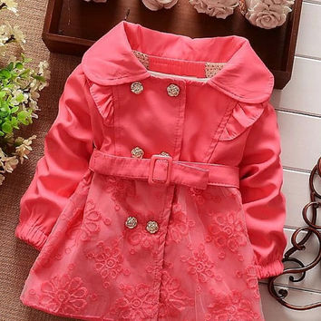 2015 Spring Autumn Jacket Children Clothing Girl's Cotton Collar Wind Coat Flower Button Lace Outwear Pink Girl Windbreaker Clothes