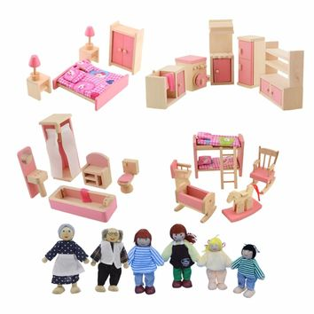 Dollhouse Furniture Double Bed with Pillows and Blanket Wooden Doll Bathroom Furniture Dollhouse Miniature Kids Child Play Toy