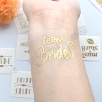 5style Gold Flash Team Bride Temporary Tattoo Favor Bachelorette Party Hens Party Bridesmaid Supplies Wedding Party Decor 1pcs