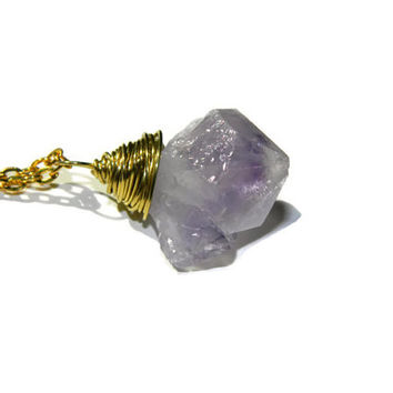 Chunky purple amethyst quartz crystal stone point necklace wrapped in gold tone wire
