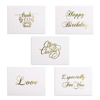 48pcs Mini Gold Embossed Thank you Card Valentine Happy Birthday Christmas Party Wedding Invitations Letter Greeting Cards