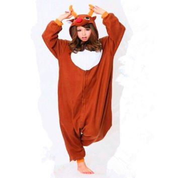 Fleece Cotton Adult Unisex Footed Animal Costume Christmas Deer Pajamas Sleepsuit Onesuit Adult Halloween Carnival Party Clothing