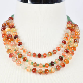 Agate Necklace, Multi Strand, Beadwork Necklace, Beaded Jewelry, Statement Necklace