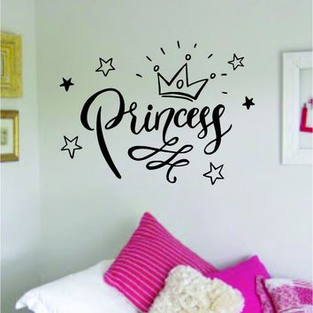 Princess V3 Big Quote Wall Decal Sticker Decor Vinyl Art Bedroom Teen Baby Girls Daughter Crown Queen