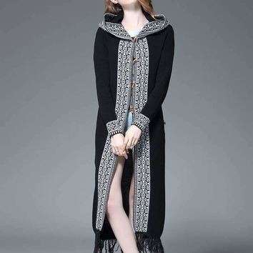 Women Sweaters Designer knitted Outerwear long jacquard hooded Cardigan