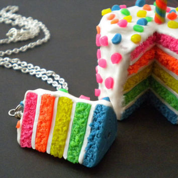 Rainbow Cake Necklace  Neon Cake Confetti by ElvenStarClayworks