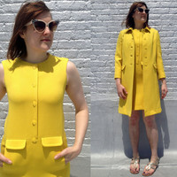 Vintage 1960's yellow coat and shift dress set by Barberini