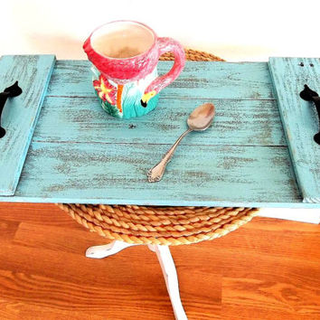 Rustic Blue Pallet Wood Tray Distressed Weathered Reclaimed Wood Beach Coastal Nautical Breakfast TV Coffee Table Serving Tray