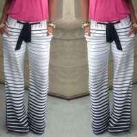 Women's Fashion Black and White Stripes printing Loose Casual Pants Harem Loose High Waist Trousers Straight trousers Wide Leg Long Pants Ethnic style pants [9222377284]