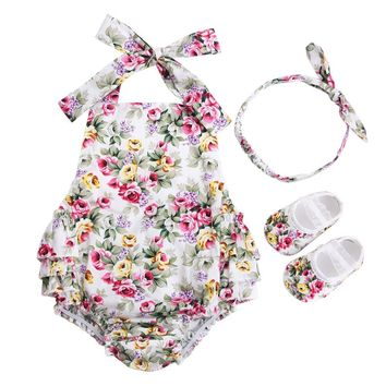 3 PCS Baby Girl Clothing Set Baby girls Vintage Floral Toddler Girl Rompers Onesuit Baby Jumpsuit With Bow Headband Shoes Set