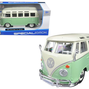 Volkswagen Van Samba Bus Green 1-25 Diecast Model Car by Maisto
