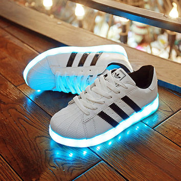 Fashion Shell-toe Colorful LED Light-emitting Fluorescent Shoes Sport Shoes