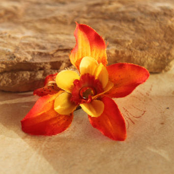 Fire Orange Ombre Flower Hair Clip Barrette wedding jewelry accessory Victorian Edwardian Steampunk Downton Abbey Gatsby Fascinator