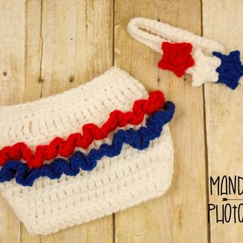 Crochet Baby Girl Patriotic Outfit 4th of July Baby Outfit 4th of July baby headband and ruffle diaper cover set