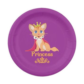 Princess Kitten Paper Plate