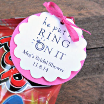 Custom Bridal Shower Favors, Engagement Party Favors, He Put a Ring on It, Ring Pop