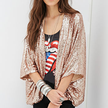 FOREVER 21 Sequined Open-Front Jacket Rose Gold