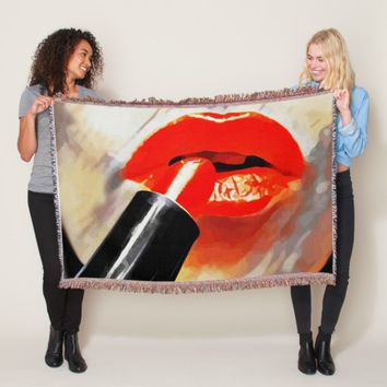 Putting Red Lipstick On Makeup Abstract Art Throw