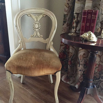 Antique Victorian Balloon Back Chair, Shabby Chippy Paint, Velvet Upholstery, Desk Chair, Side Chair, Cottage Decor,